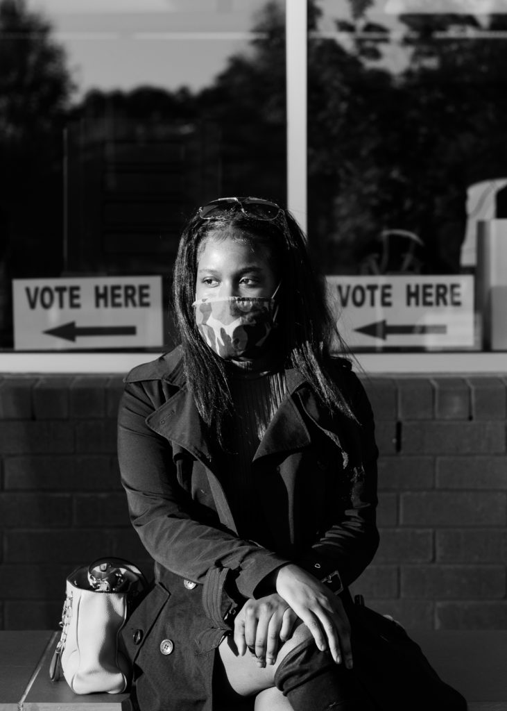 """""""I had a couple of strong feelings about voting. First of all, I was really, really excited to be able to participate in something so historical, especially at this time right now in our nation. I kind of felt privileged, some of my ancestors were not able to have this right or this privilege. So it kind of gave me some butterflies and I'm happy that I'm able to participate today. Considering COVID right now, the state of our finances, our country, our president, and how he views minorities in general, I just don't think that our current president would be the best fit for the future of minorities across the nation. So that kind of is something that really made me feel like in order to protect future generations I had to participate today."""""""